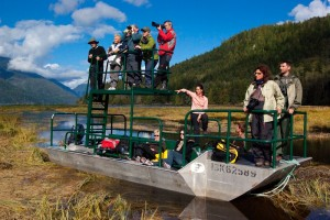 Visitors taking photos of grizzly bears from flat bottom viewing boat